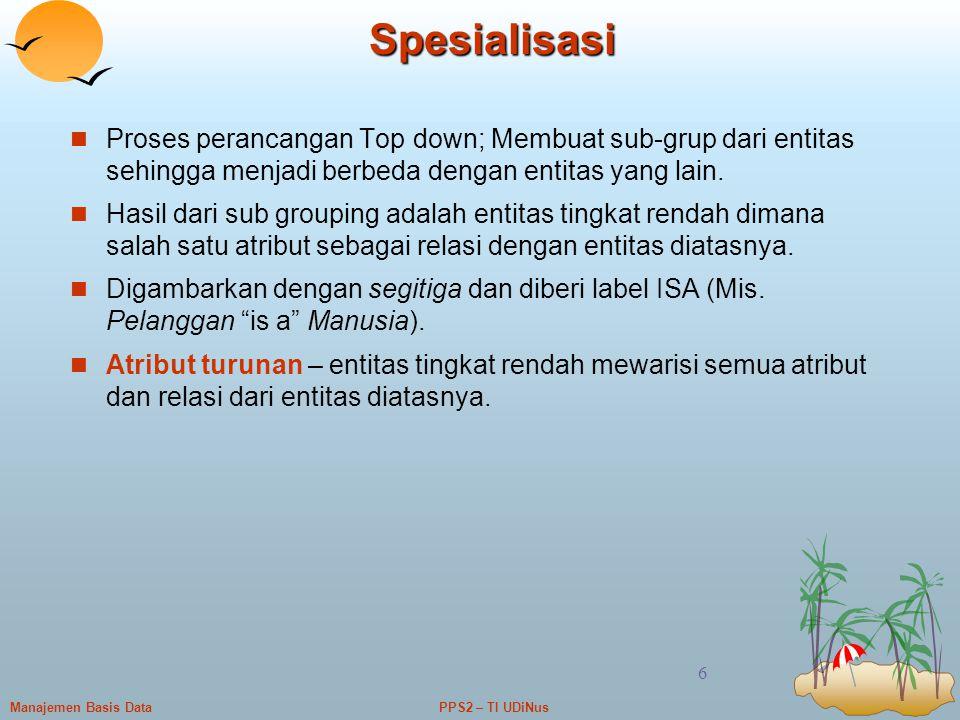 Spesialisasi Proses perancangan Top down; Membuat sub-grup dari entitas sehingga menjadi berbeda dengan entitas yang lain.