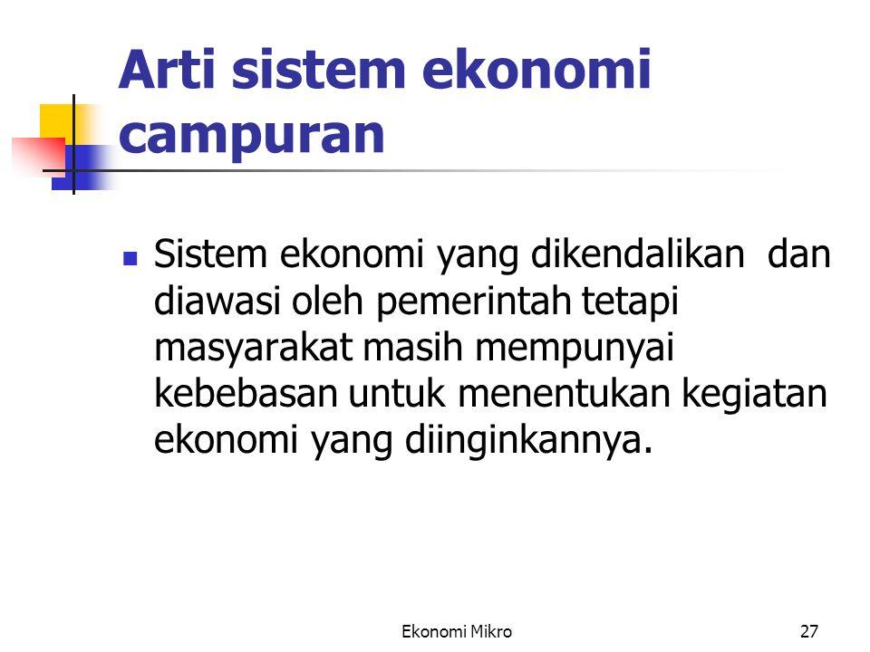 Arti sistem ekonomi campuran