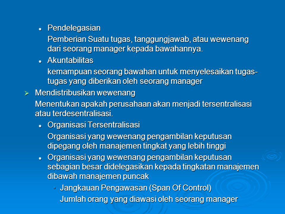 Pendelegasian Pemberian Suatu tugas, tanggungjawab, atau wewenang dari seorang manager kepada bawahannya.
