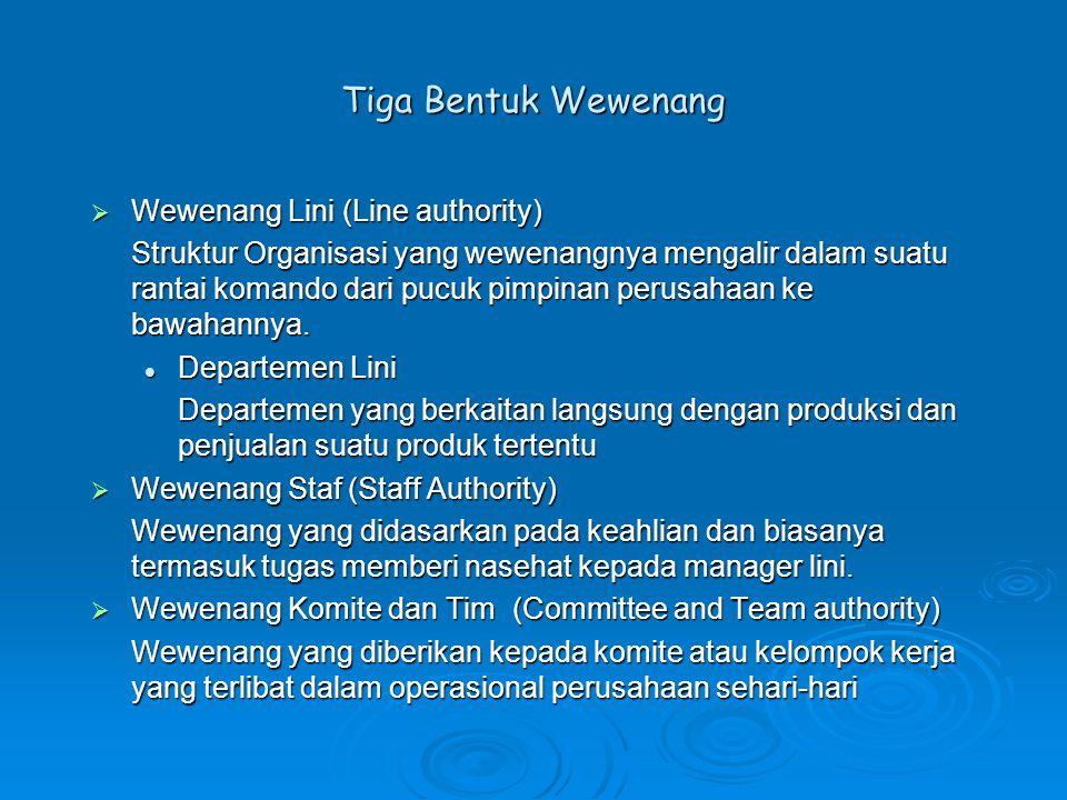 Tiga Bentuk Wewenang Wewenang Lini (Line authority)