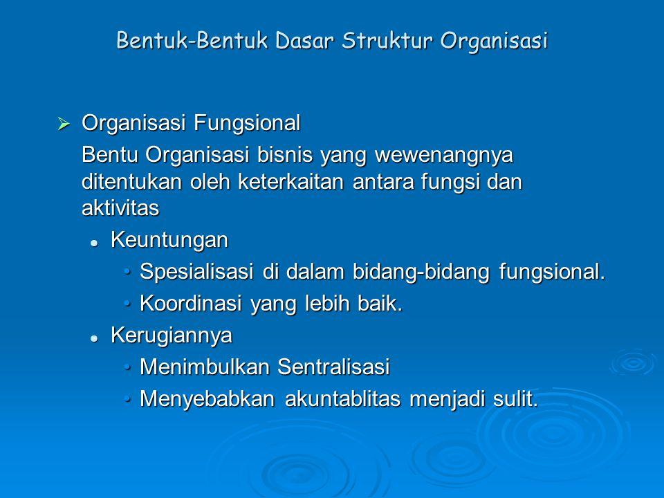 Bentuk-Bentuk Dasar Struktur Organisasi