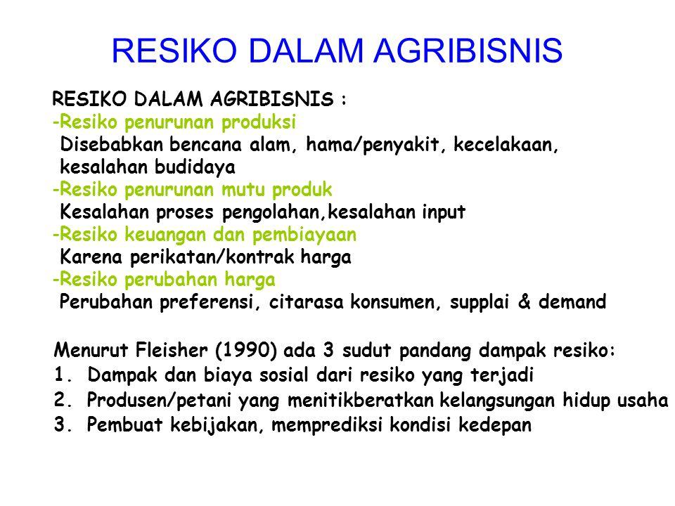 RESIKO DALAM AGRIBISNIS
