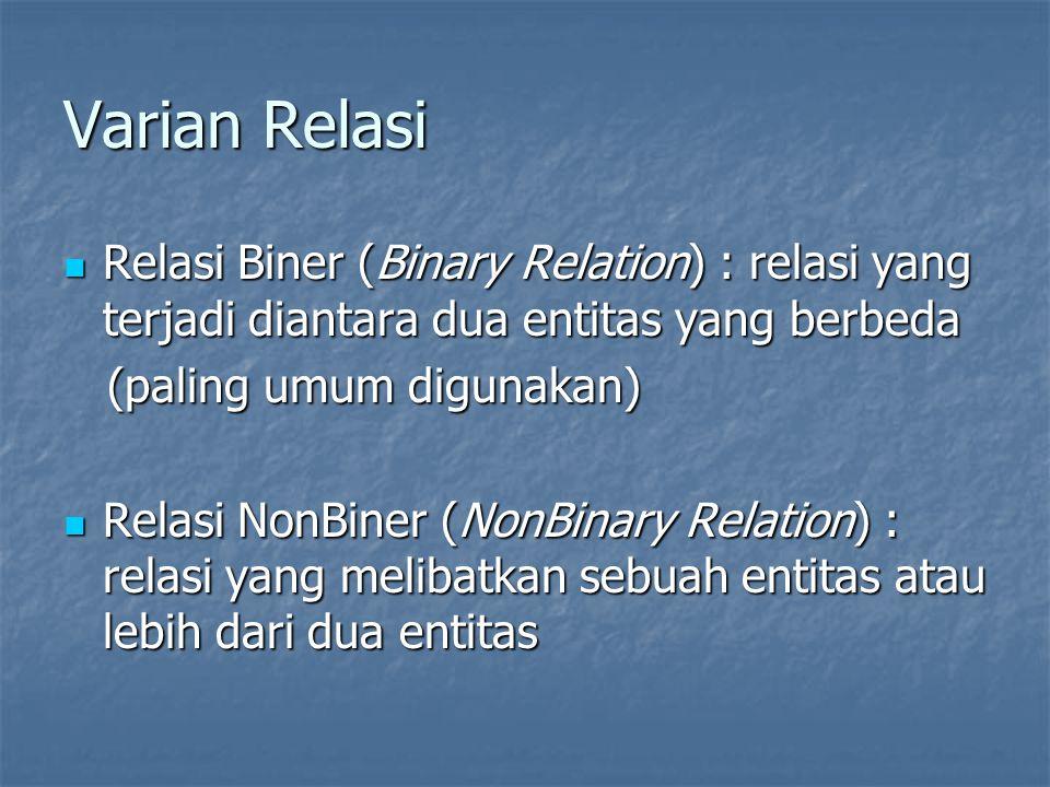 Varian Relasi Relasi Biner (Binary Relation) : relasi yang terjadi diantara dua entitas yang berbeda.