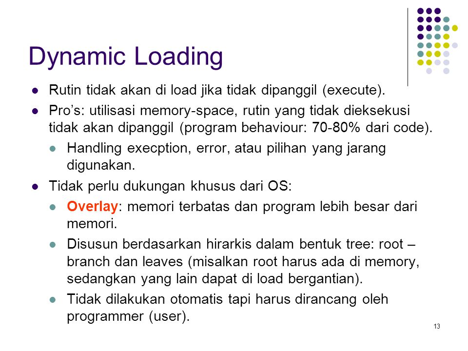 Dynamic Loading Rutin tidak akan di load jika tidak dipanggil (execute).