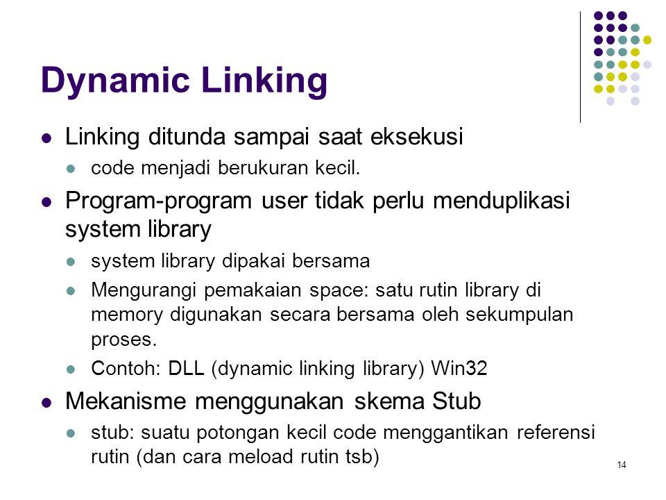 Dynamic Linking Linking ditunda sampai saat eksekusi