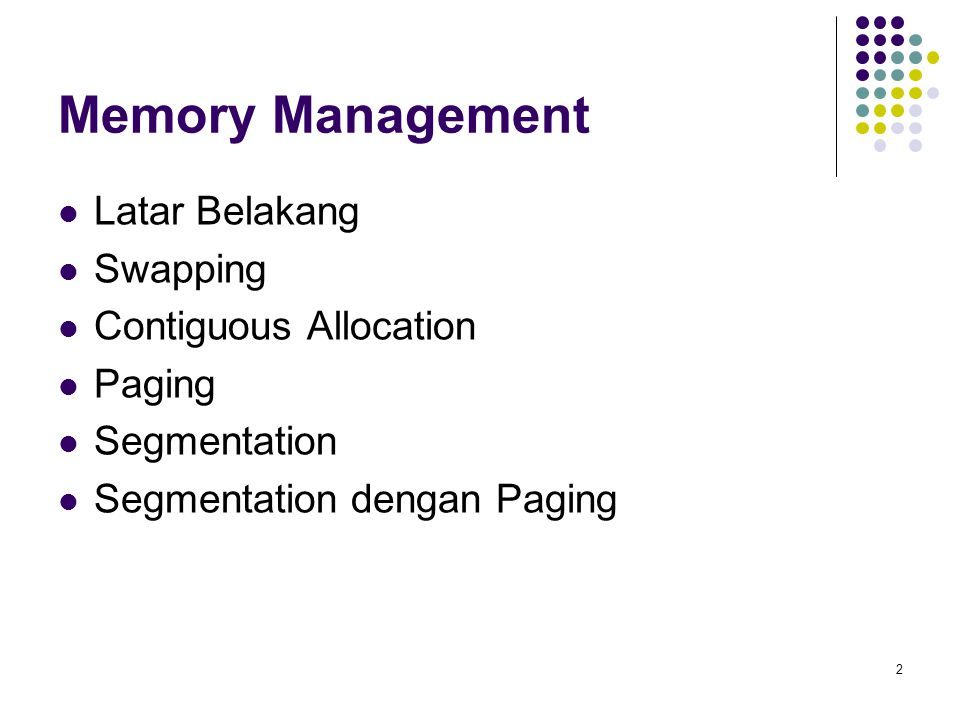 Memory Management Latar Belakang Swapping Contiguous Allocation Paging
