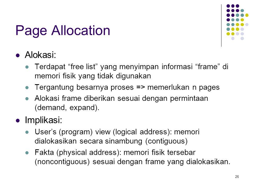 Page Allocation Alokasi: Implikasi: