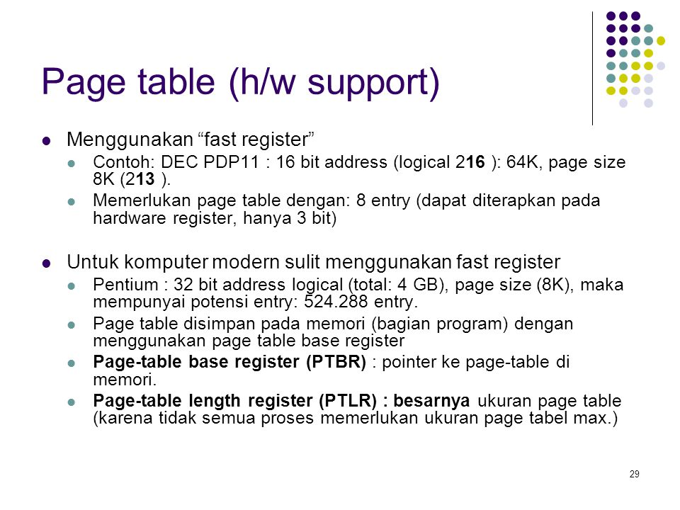 Page table (h/w support)