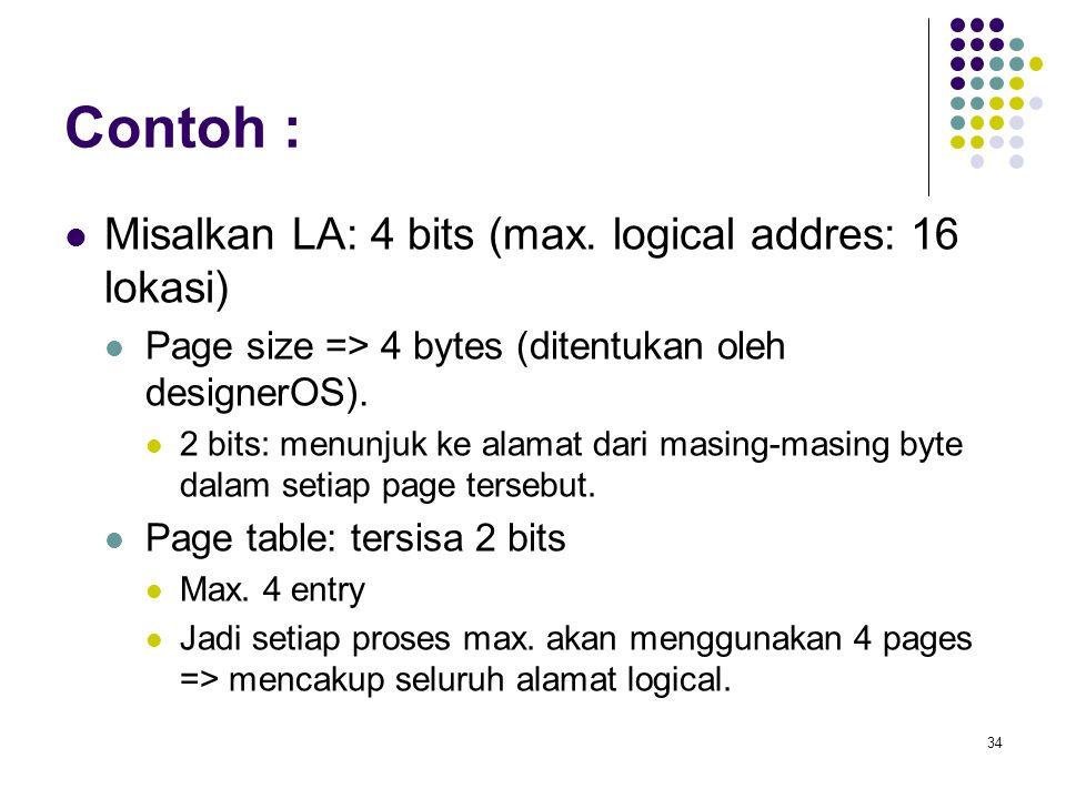 Contoh : Misalkan LA: 4 bits (max. logical addres: 16 lokasi)