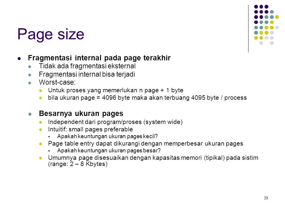 Page size Fragmentasi internal pada page terakhir