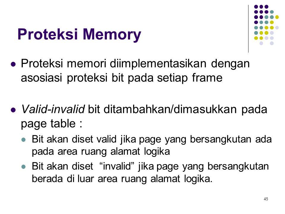 Proteksi Memory Proteksi memori diimplementasikan dengan asosiasi proteksi bit pada setiap frame.