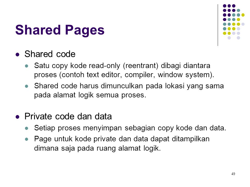 Shared Pages Shared code Private code dan data