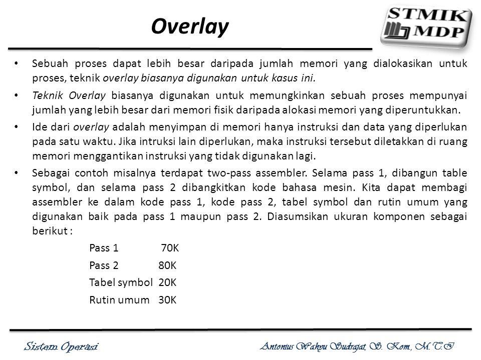 Overlay Sebuah proses dapat lebih besar daripada jumlah memori yang dialokasikan untuk proses, teknik overlay biasanya digunakan untuk kasus ini.