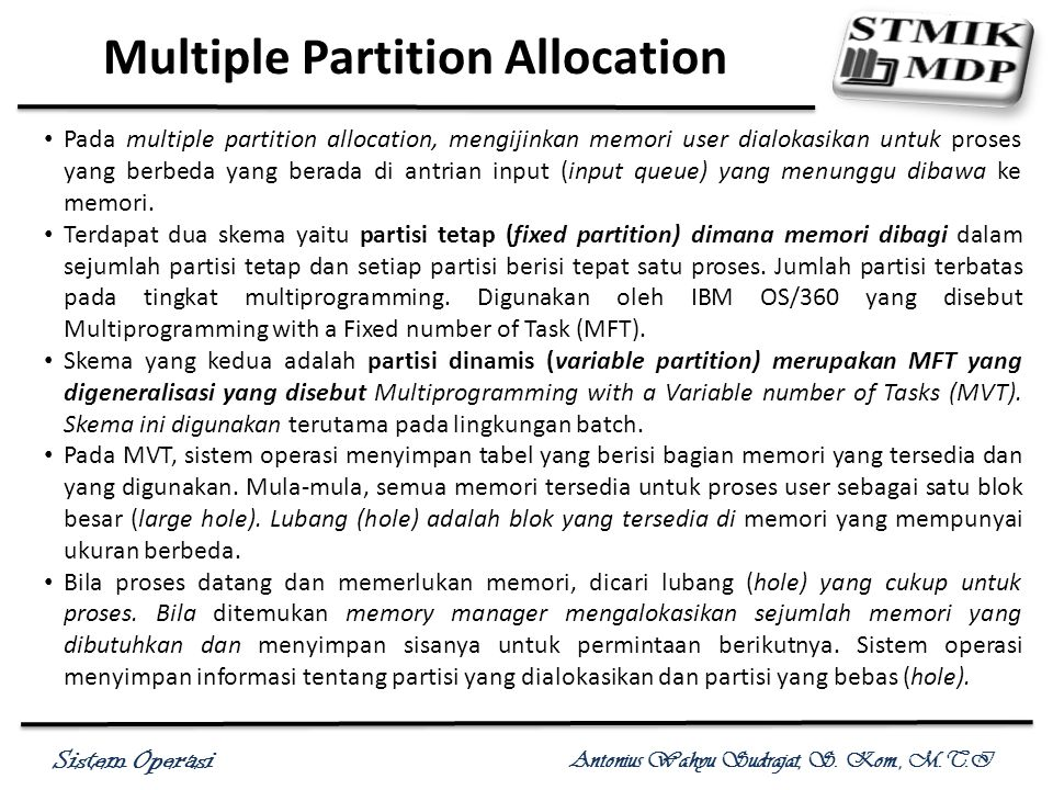 Multiple Partition Allocation