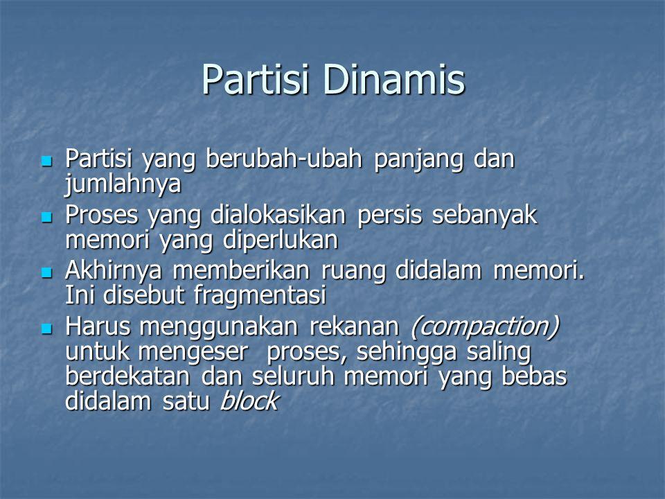 Partisi Dinamis Partisi yang berubah-ubah panjang dan jumlahnya