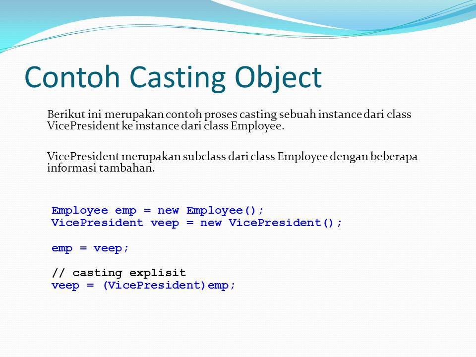 Contoh Casting Object