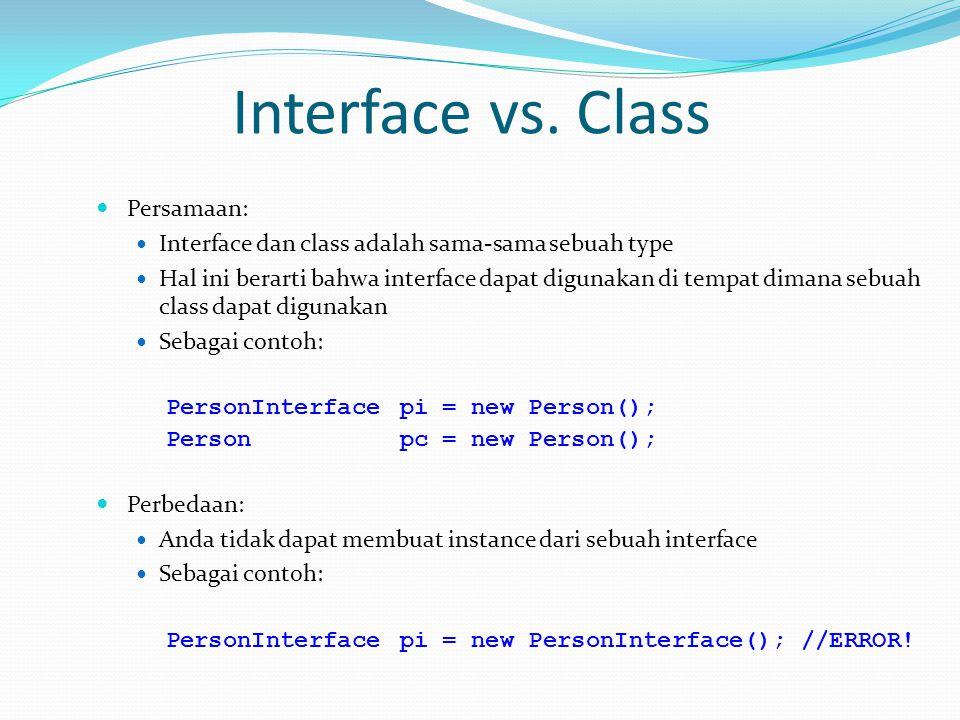 Interface vs. Class Persamaan: