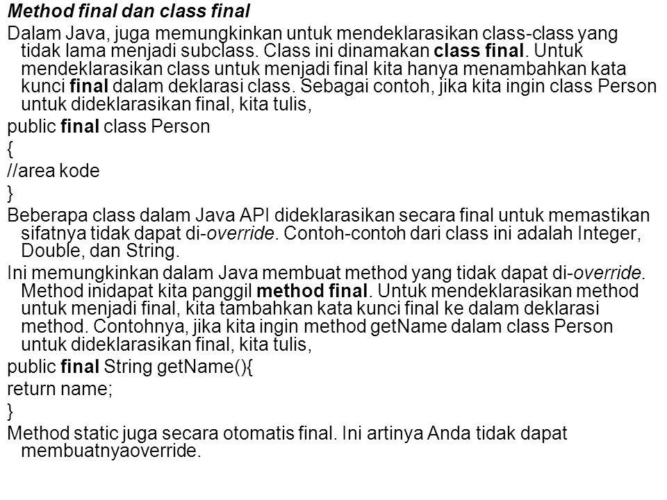 Method final dan class final