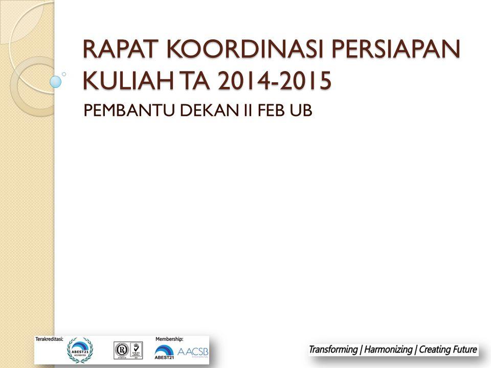 RAPAT KOORDINASI PERSIAPAN KULIAH TA 2014-2015