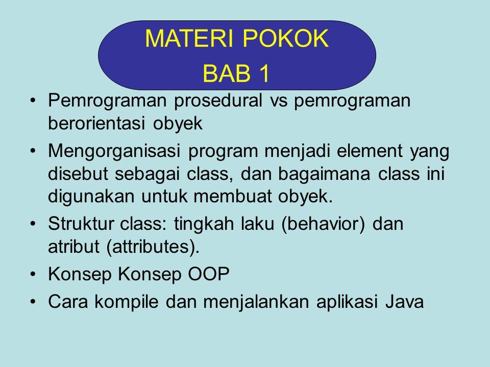 MATERI POKOK BAB 1. Pemrograman prosedural vs pemrograman berorientasi obyek.