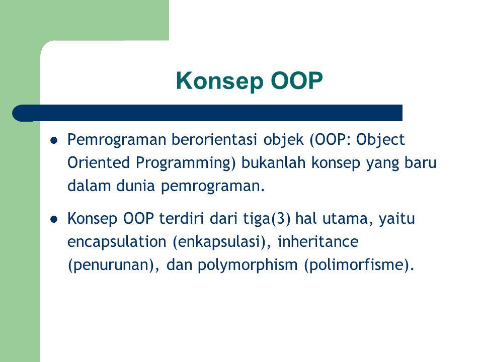 Konsep OOP Pemrograman berorientasi objek (OOP: Object Oriented Programming) bukanlah konsep yang baru dalam dunia pemrograman.