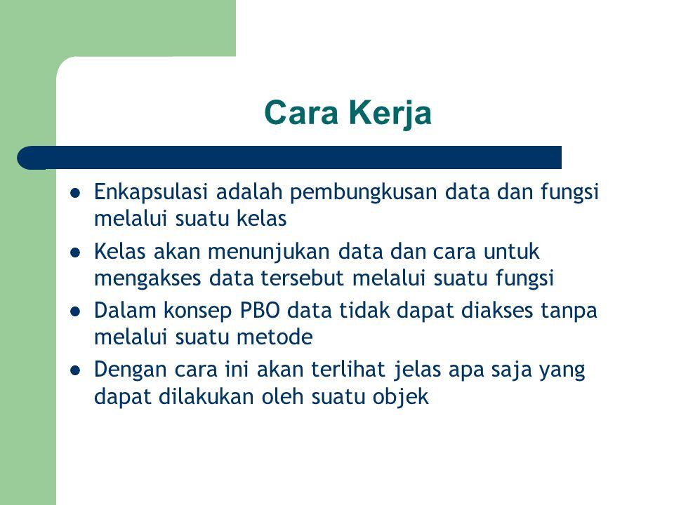 Cara Kerja Enkapsulasi adalah pembungkusan data dan fungsi melalui suatu kelas.
