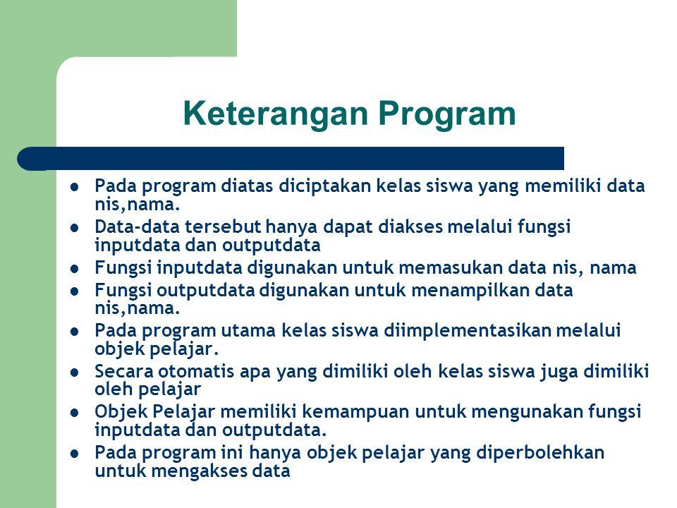 Keterangan Program Pada program diatas diciptakan kelas siswa yang memiliki data nis,nama.