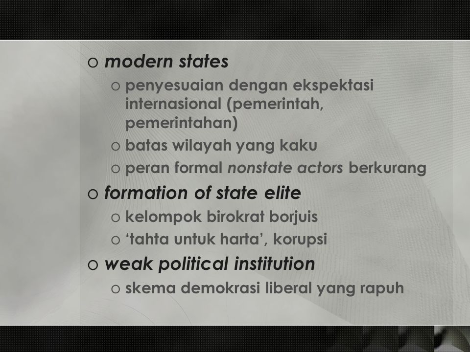 formation of state elite