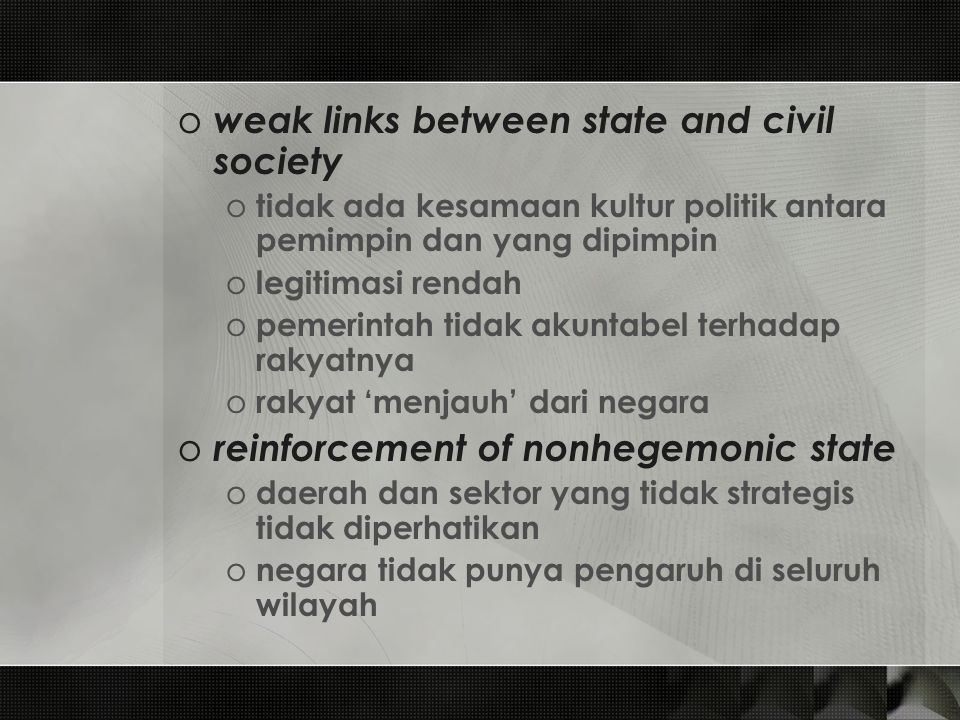 weak links between state and civil society