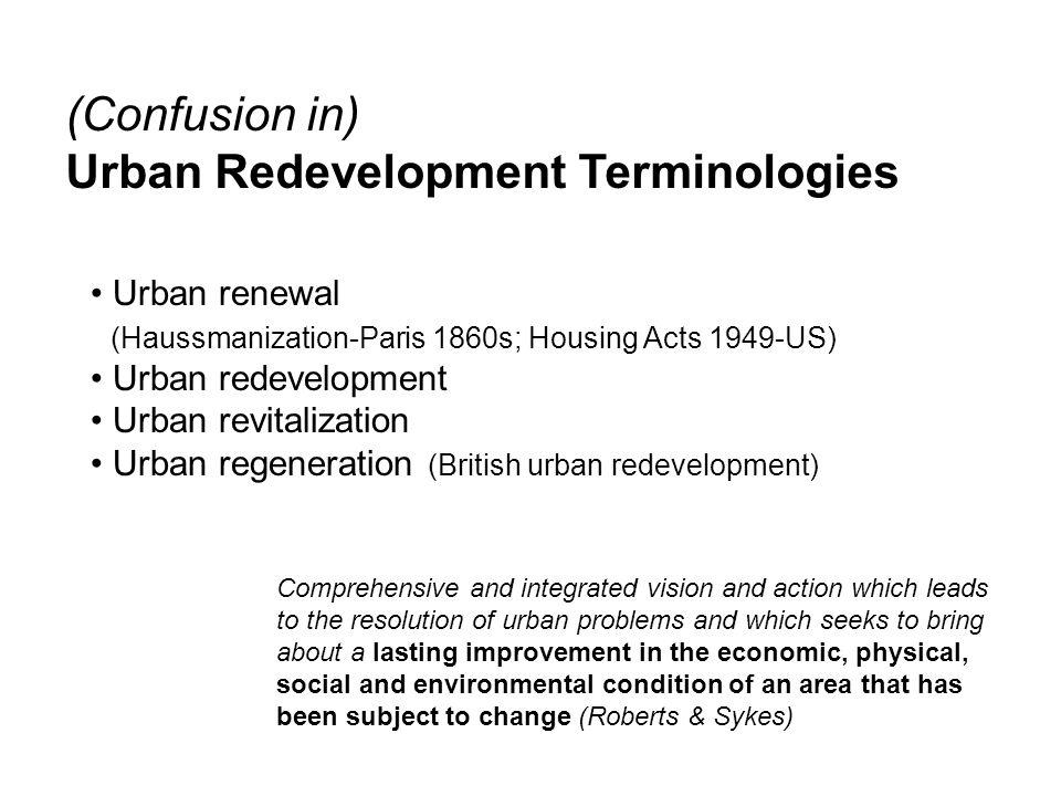 Urban Redevelopment Terminologies