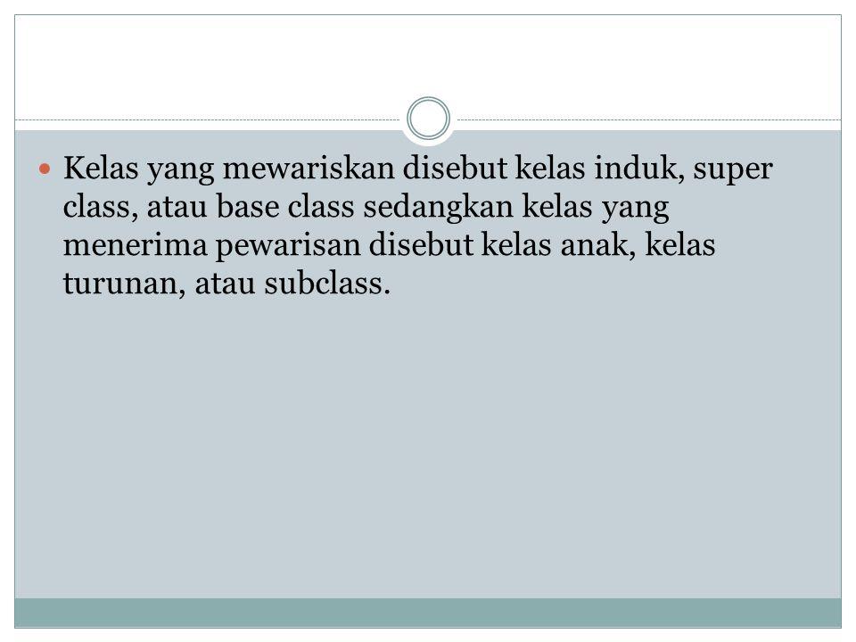Kelas yang mewariskan disebut kelas induk, super class, atau base class sedangkan kelas yang menerima pewarisan disebut kelas anak, kelas turunan, atau subclass.