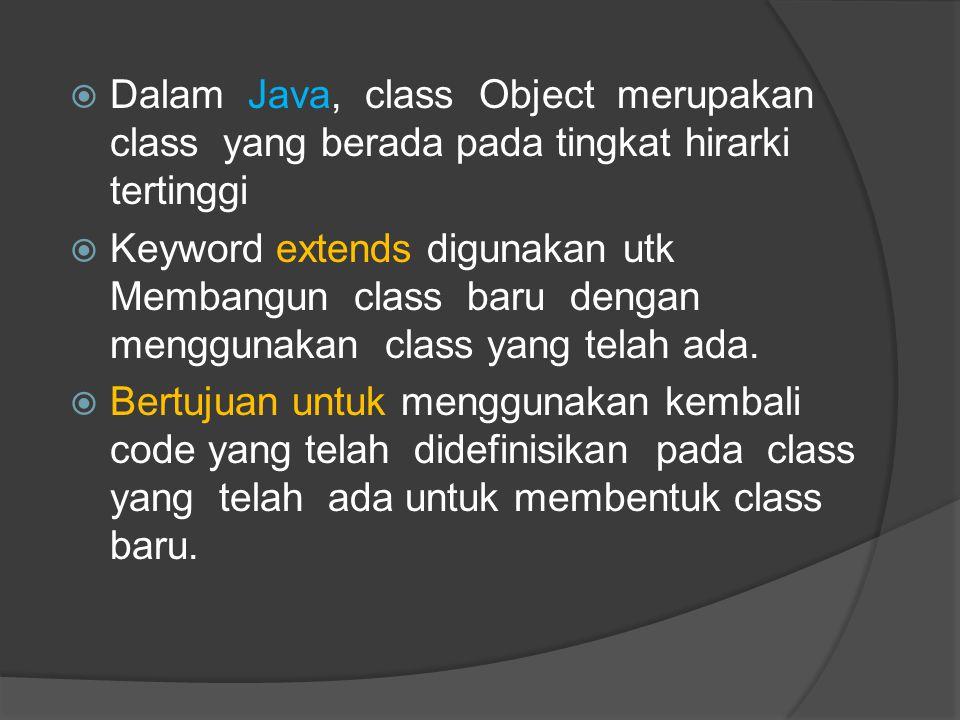Dalam Java, class Object merupakan class yang berada pada tingkat hirarki tertinggi
