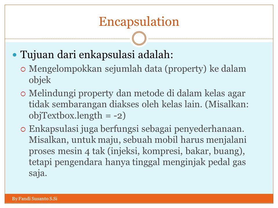 Encapsulation Tujuan dari enkapsulasi adalah: