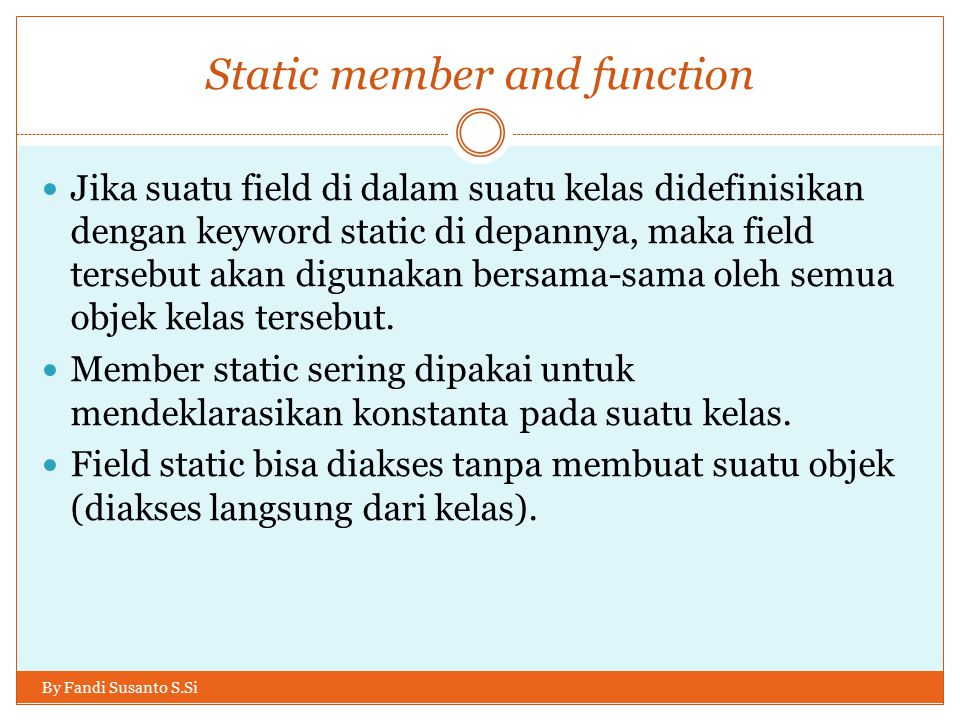 Static member and function