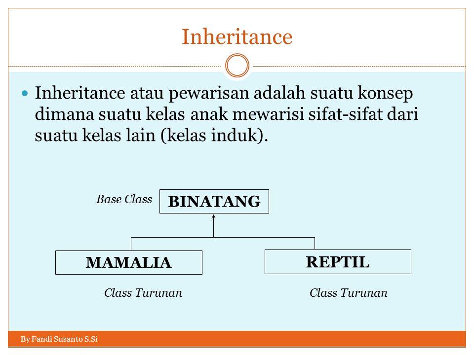 Inheritance Inheritance atau pewarisan adalah suatu konsep dimana suatu kelas anak mewarisi sifat-sifat dari suatu kelas lain (kelas induk).