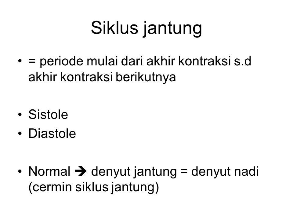Siklus jantung = periode mulai dari akhir kontraksi s.d akhir kontraksi berikutnya. Sistole. Diastole.