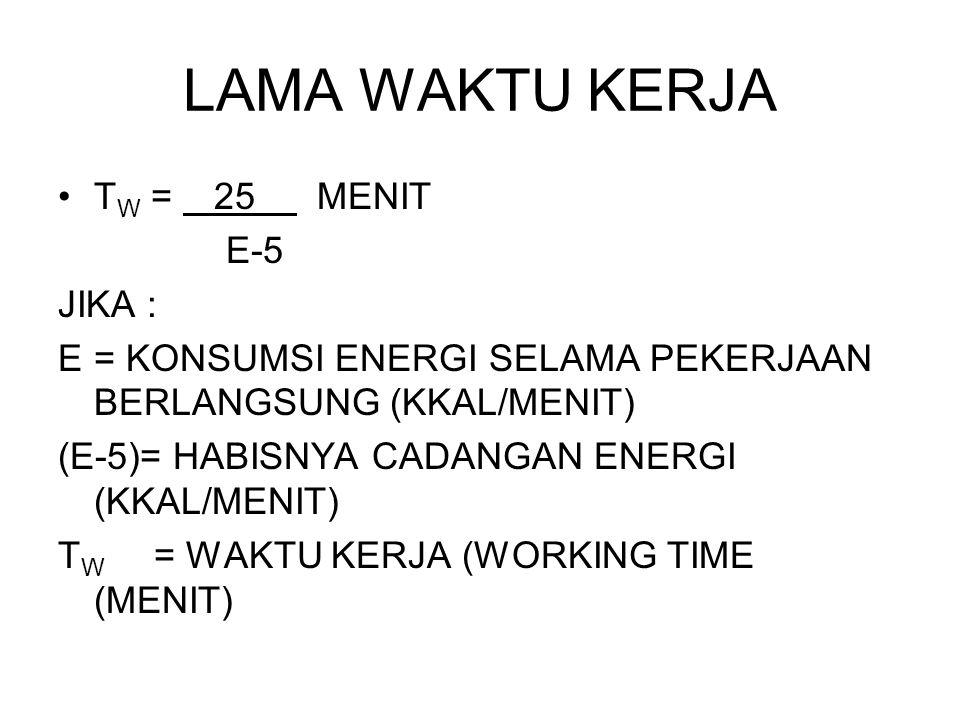 LAMA WAKTU KERJA TW = 25 MENIT E-5 JIKA :