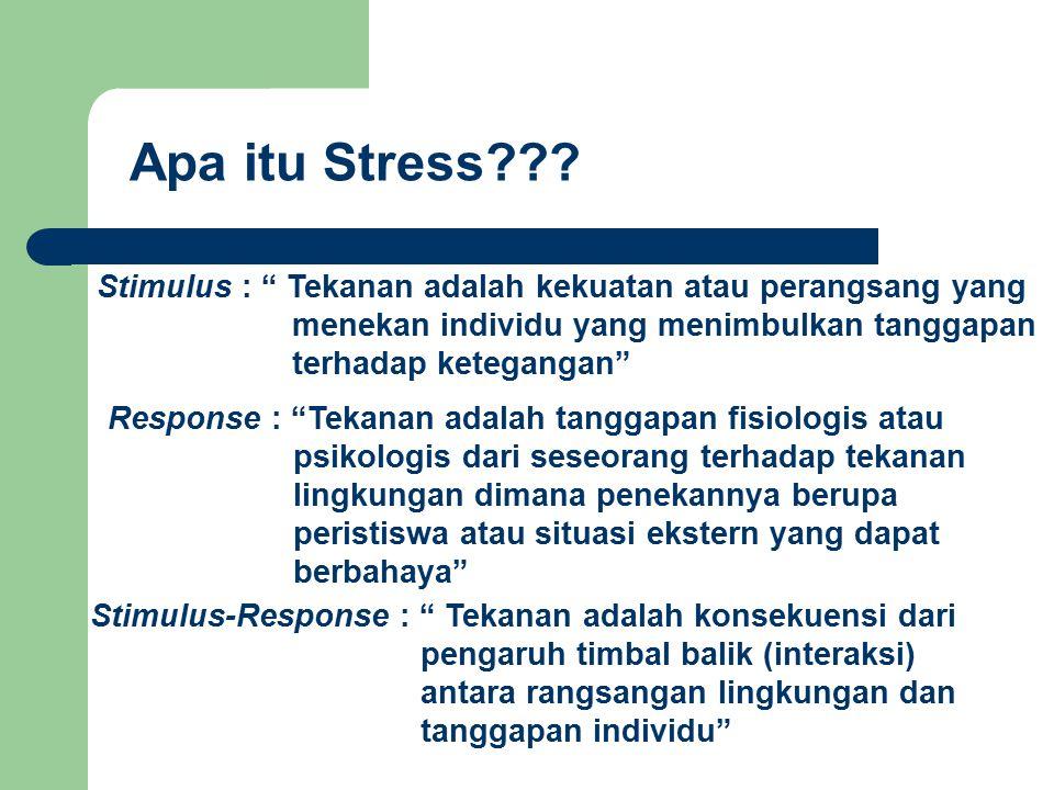 Apa itu Stress Stimulus : Tekanan adalah kekuatan atau perangsang yang. menekan individu yang menimbulkan tanggapan.
