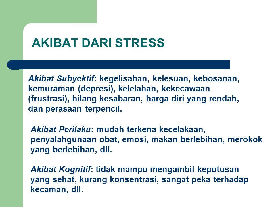 AKIBAT DARI STRESS Akibat Subyektif: kegelisahan, kelesuan, kebosanan,
