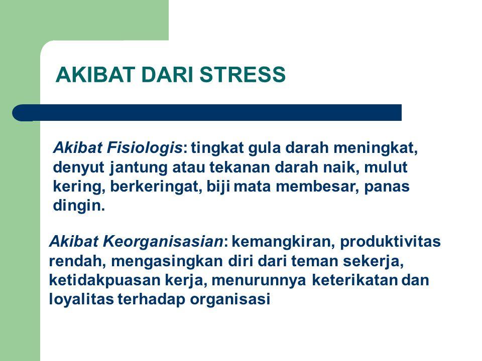 AKIBAT DARI STRESS Akibat Fisiologis: tingkat gula darah meningkat,