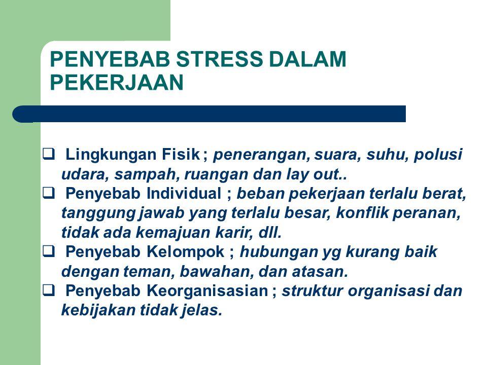 PENYEBAB STRESS DALAM PEKERJAAN