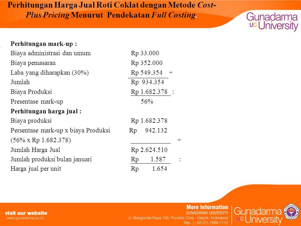 Perhitungan Harga Jual Roti Coklat dengan Metode Cost-Plus Pricing Menurut Pendekatan Full Costing.