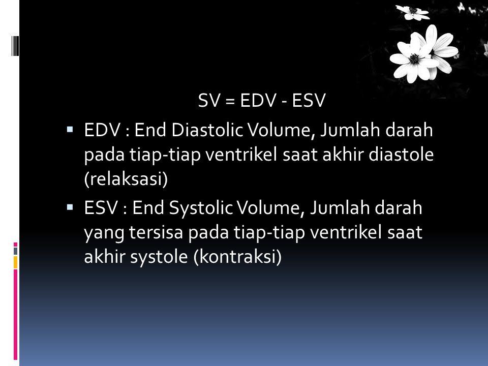 SV = EDV - ESV EDV : End Diastolic Volume, Jumlah darah pada tiap-tiap ventrikel saat akhir diastole (relaksasi)