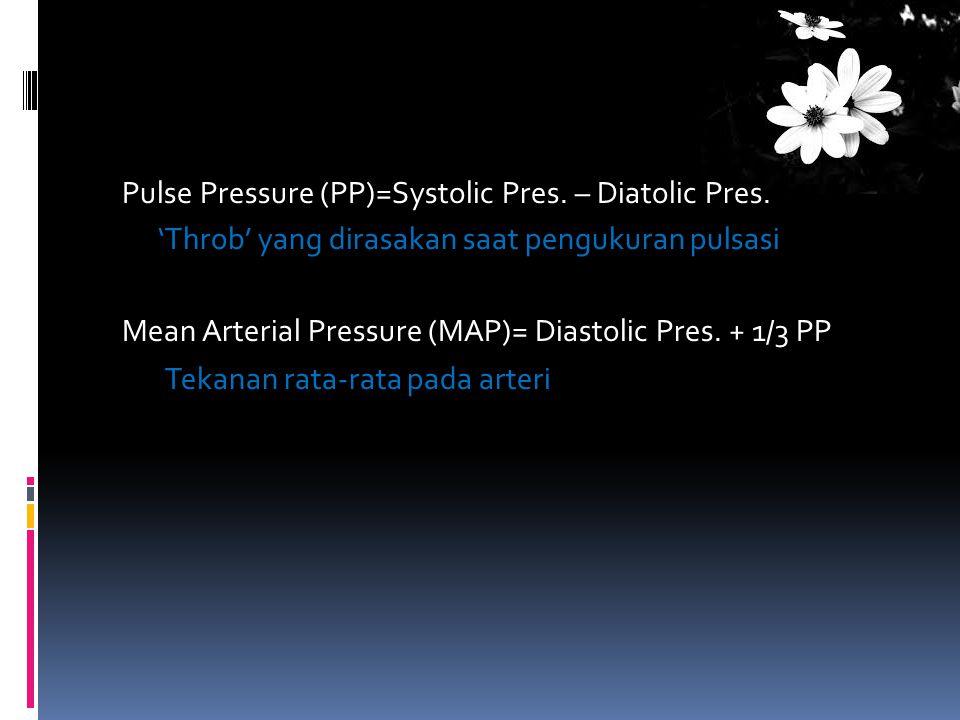 Pulse Pressure (PP)=Systolic Pres. – Diatolic Pres
