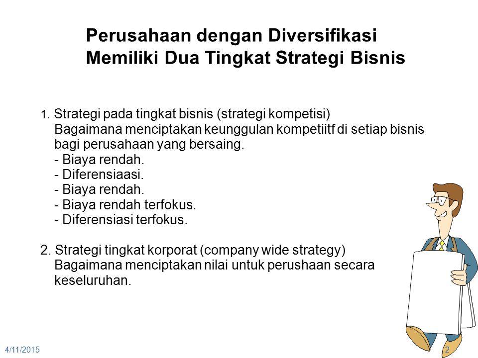 Perusahaan dengan Diversifikasi Memiliki Dua Tingkat Strategi Bisnis