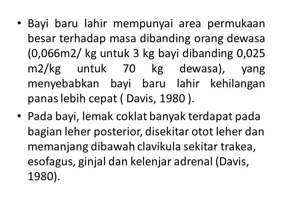 Bayi baru lahir mempunyai area permukaan besar terhadap masa dibanding orang dewasa (0,066m2/ kg untuk 3 kg bayi dibanding 0,025 m2/kg untuk 70 kg dewasa), yang menyebabkan bayi baru lahir kehilangan panas lebih cepat ( Davis, 1980 ).