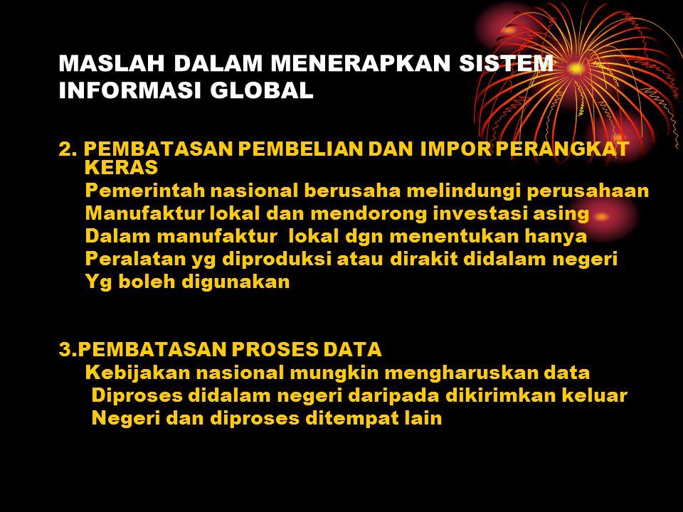 MASLAH DALAM MENERAPKAN SISTEM INFORMASI GLOBAL