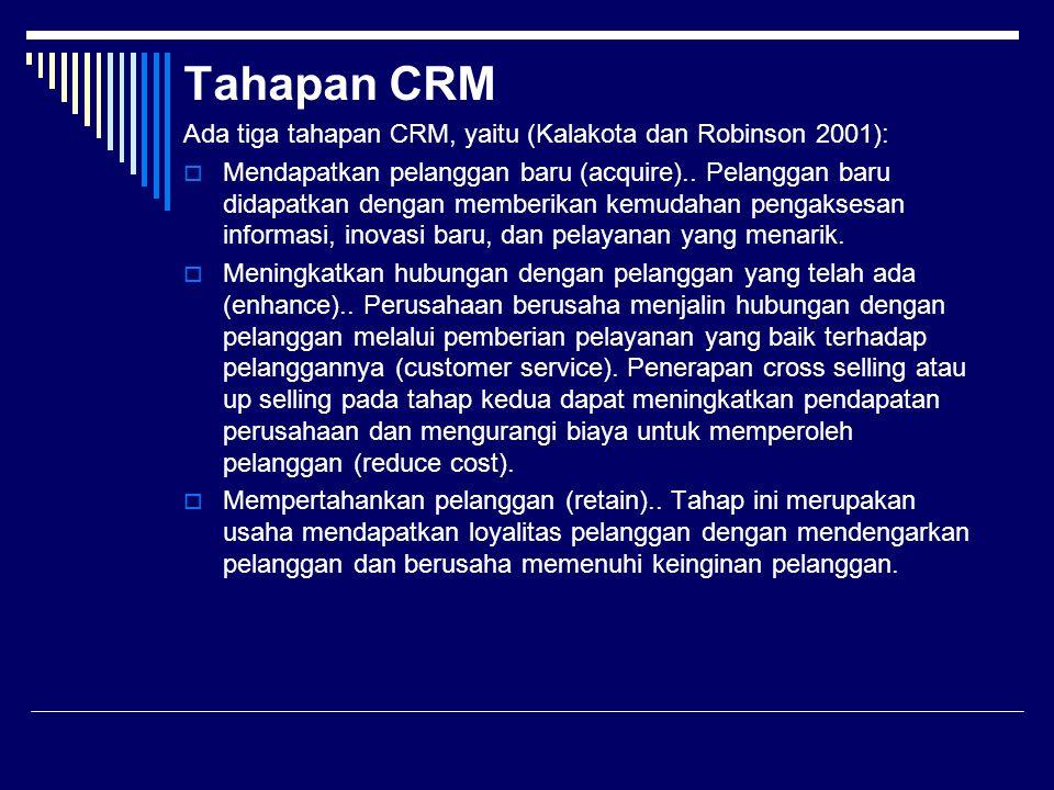 Tahapan CRM Ada tiga tahapan CRM, yaitu (Kalakota dan Robinson 2001):