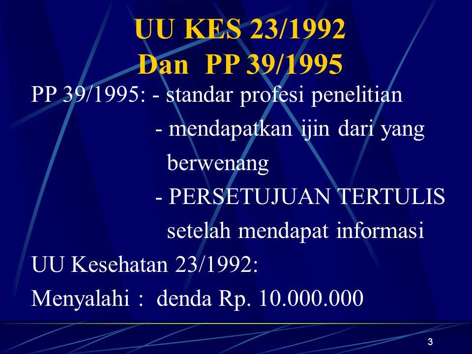 UU KES 23/1992 Dan PP 39/1995 PP 39/1995: - standar profesi penelitian