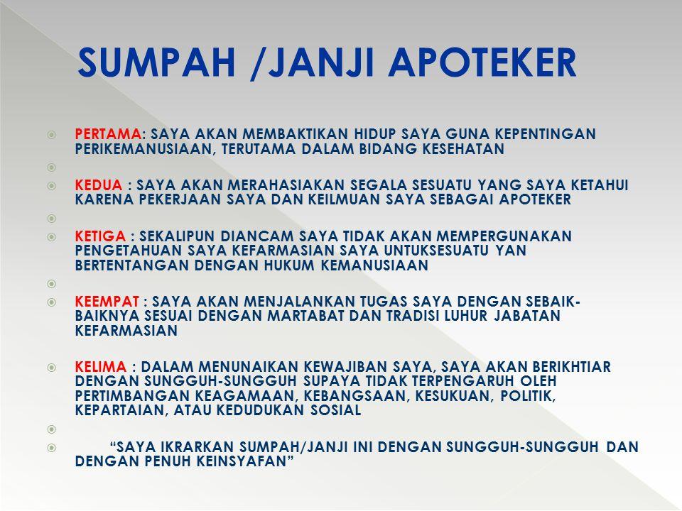 SUMPAH /JANJI APOTEKER